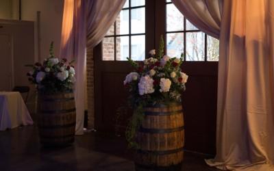Whiskey Barrels by doors