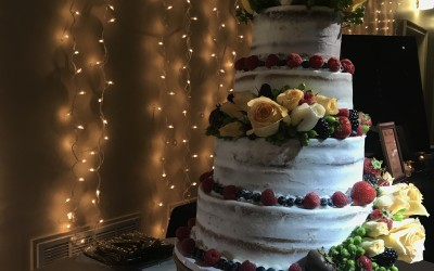 cascading lights behind cake