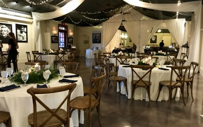 cross back chairs with draping